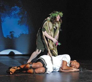 Grant funds provided assistance to the 2013 Shakespeare Festival at Rockland High School. This image is of Puck from a midsummers night dream.