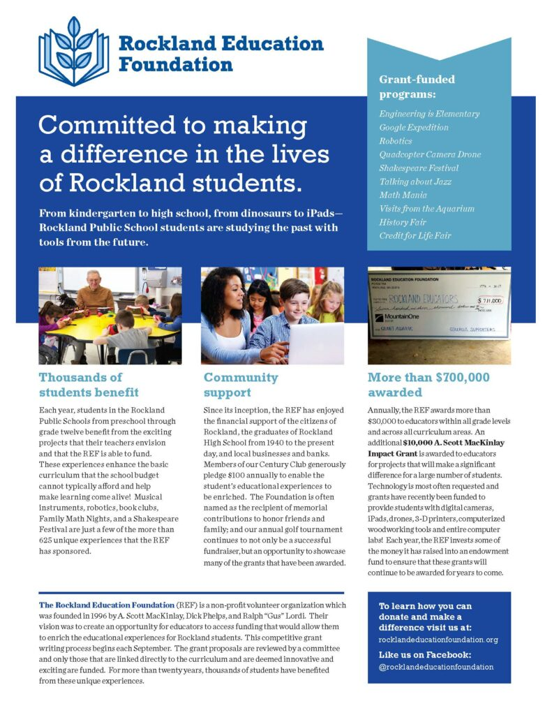 Image of Rockland Education Foundation 2019 brochure